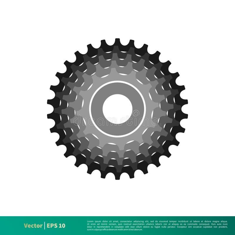 Vetor Logo Template Illustration Design do ícone da bicicleta da engrenagem Vetor EPS 10 ilustração do vetor