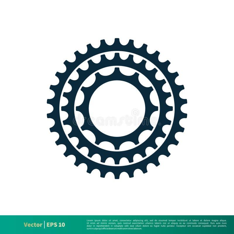 Vetor Logo Template Illustration Design do ícone da bicicleta da engrenagem Vetor EPS 10 ilustração stock
