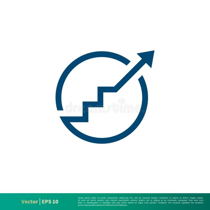 Vetor Logo Template Illustration Design do ícone da carta da seta de Blue Circle Vetor EPS 10 ilustração stock