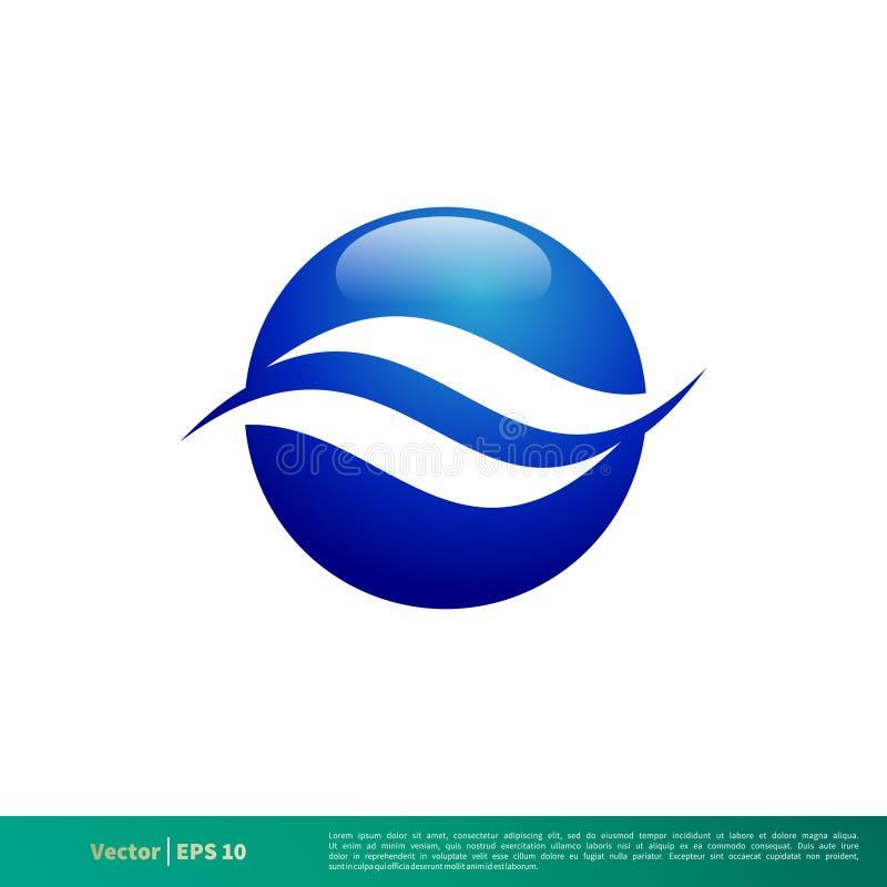 Vetor Logo Template Illustration Design do ícone da onda de água Vetor EPS 10 ilustração do vetor