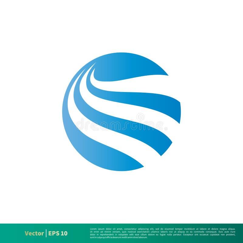 Vetor Logo Template Illustration Design do ícone da onda de água da esfera do círculo Vetor EPS 10 ilustração do vetor