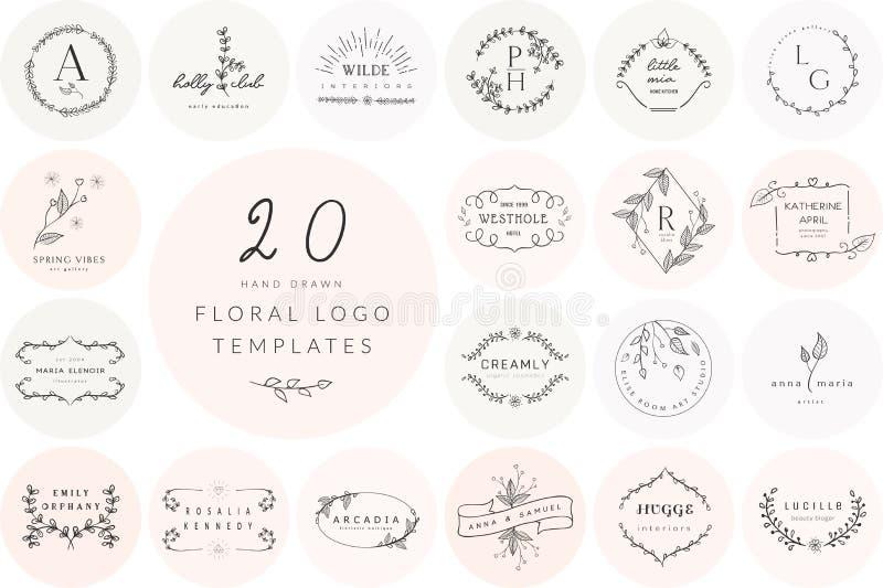 Vetor Logo Templates Collection floral tirado mão ilustração stock