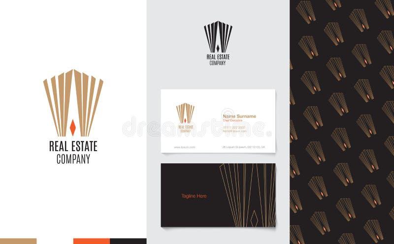 Vetor: Logotipo de Real Estate com cartão de nome da empresa e teste padrão incorporado no estilo geométrico luxuoso, conceito de ilustração stock
