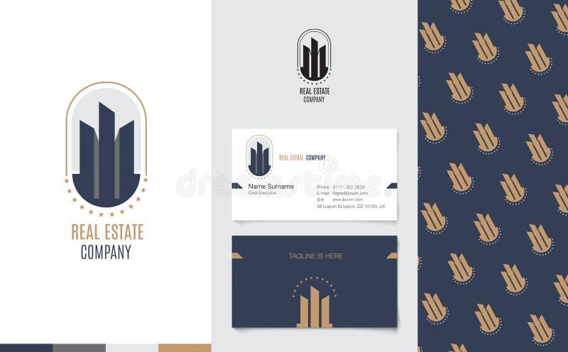 Vetor: Logotipo de Real Estate com cartão de nome da empresa e teste padrão incorporado no estilo geométrico luxuoso, conceito de ilustração do vetor