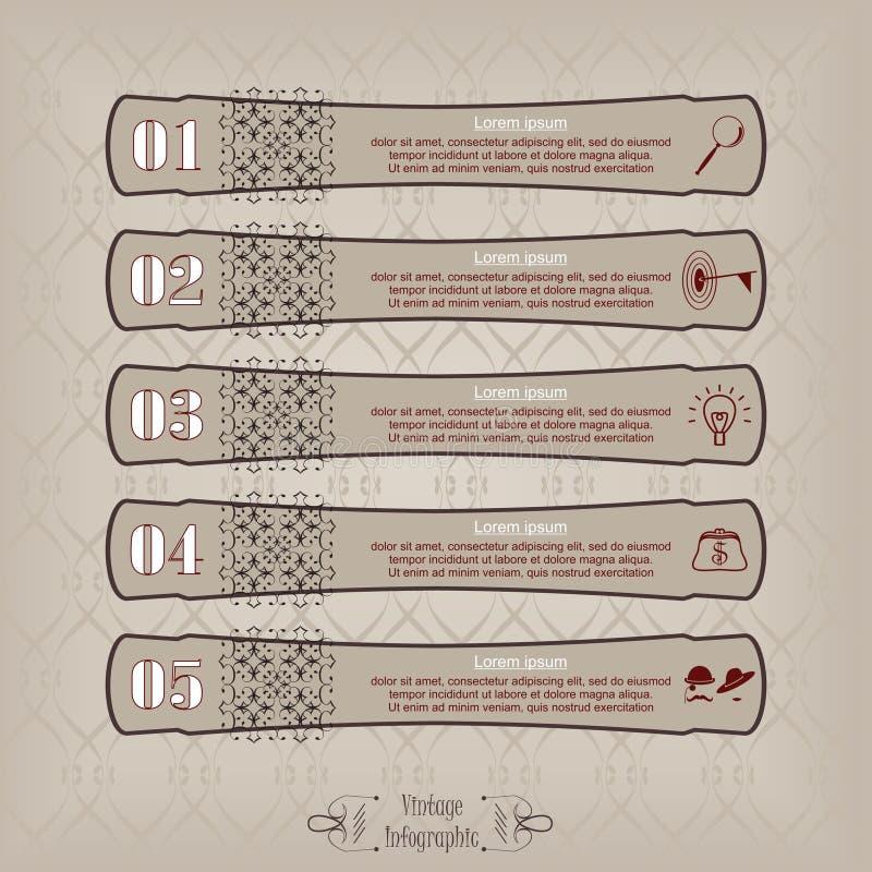 Vetor longo infographic da etiqueta do vintage ilustração royalty free