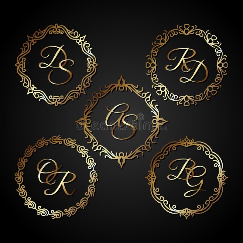 Vetor luxuoso do quadro do círculo do ouro ilustração royalty free