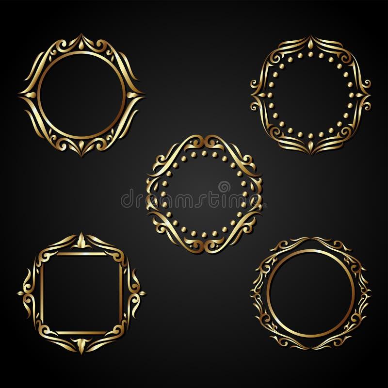 Vetor luxuoso do quadro do círculo do ouro ilustração do vetor