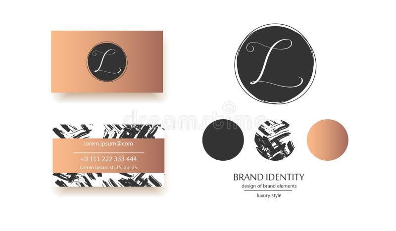 Vetor luxuoso Logo Template Projeto de tipo sofisticado Letra caligráfica L como um monograma ilustração royalty free