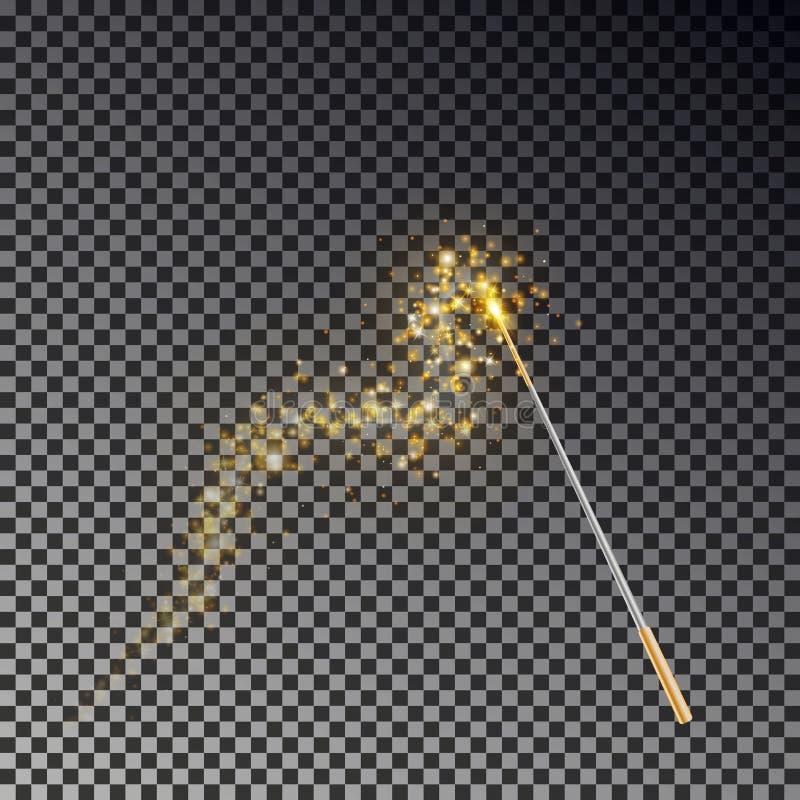 Vetor mágico da varinha Vara transparente do milagre com a cauda da luz amarela do fulgor isolada no fundo escuro ilustração do vetor