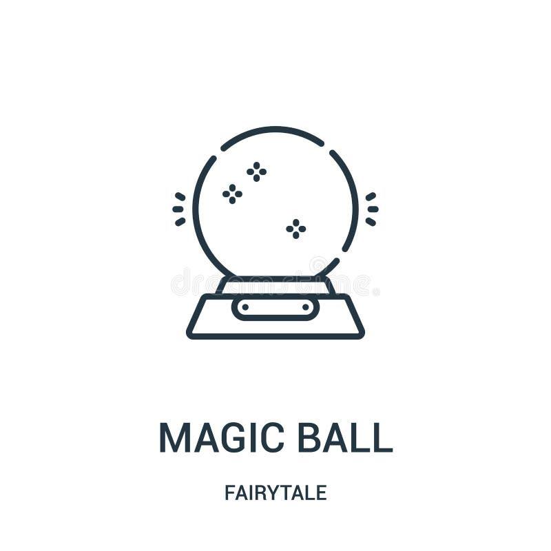 vetor mágico do ícone da bola da coleção do conto de fadas Linha fina ilustração mágica do vetor do ícone do esboço da bola ilustração royalty free