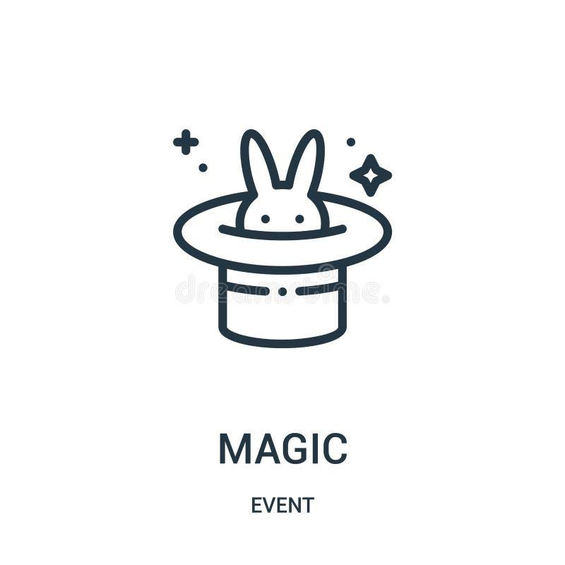 vetor mágico do ícone da coleção do evento Linha fina ilustração mágica do vetor do ícone do esboço ilustração do vetor