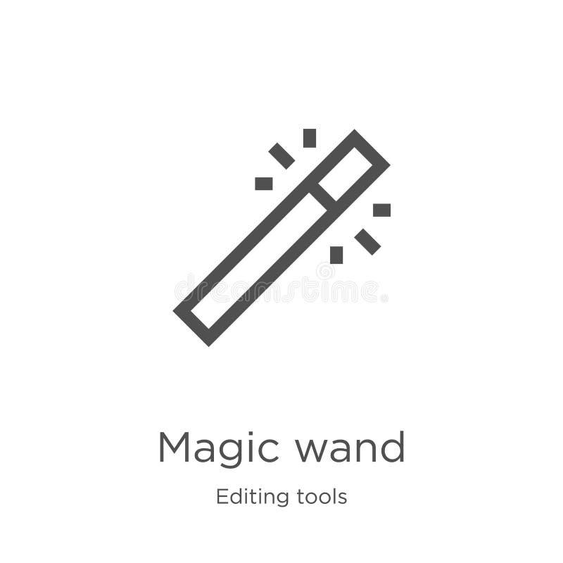 vetor mágico do ícone da varinha de editar a coleção das ferramentas Linha fina ilustra??o m?gica do vetor do ?cone do esbo?o da  ilustração stock