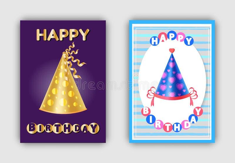 Vetor mágico do Headwear do carnaval dos chapéus do feliz aniversario ilustração do vetor
