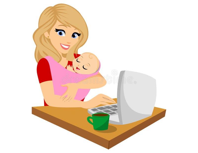 Vetor - mãe a multitarefas isolada ilustração royalty free