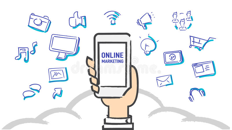 Vetor: Mão que guarda o telefone celular com mercado em linha ilustração do vetor
