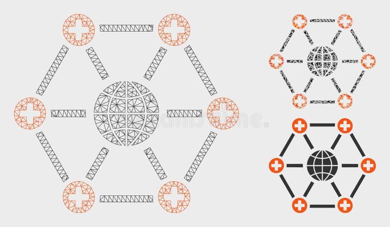 Vetor médico global Mesh Carcass Model da rede e ícone do mosaico do triângulo ilustração do vetor