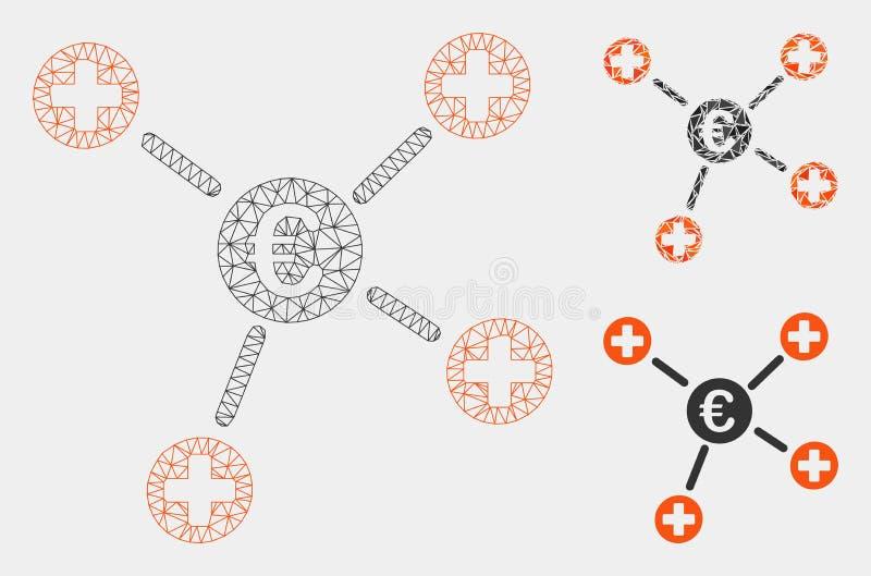 Vetor médico Mesh Carcass Model das relações do Euro e ícone do mosaico do triângulo ilustração stock