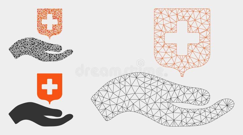 Vetor médico Mesh Network Model do protetor da oferta da mão e ícone do mosaico do triângulo ilustração do vetor