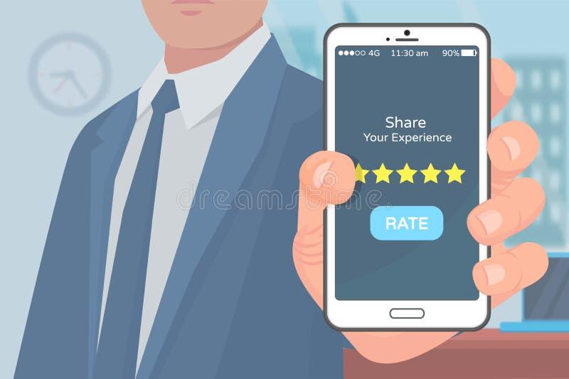 Vetor móvel da avaliação da aplicação da experiência da parte ilustração stock