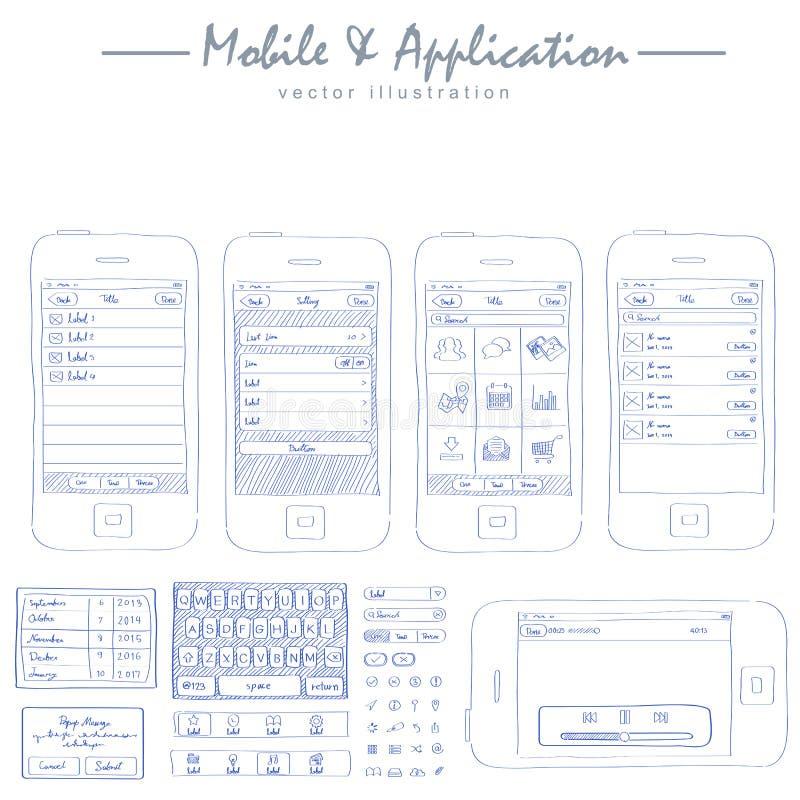 vetor móvel do desenho de esboço do conceito da aplicação ilustração royalty free