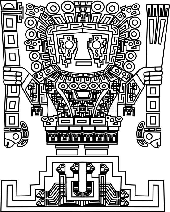 Vetor maia e símbolos tribais do inca ilustração stock