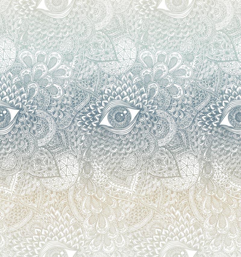 Vetor Mandala Background Handdrawn sem emenda imagem de stock
