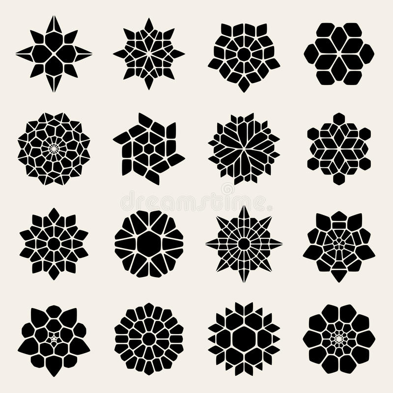 Vetor Mandala Lace Ornaments Collection preto e branco ilustração do vetor