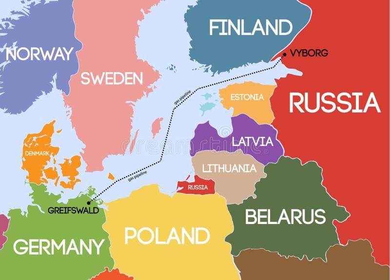 Vetor Mapa esquemático do gasoduto subaquático ilustração royalty free
