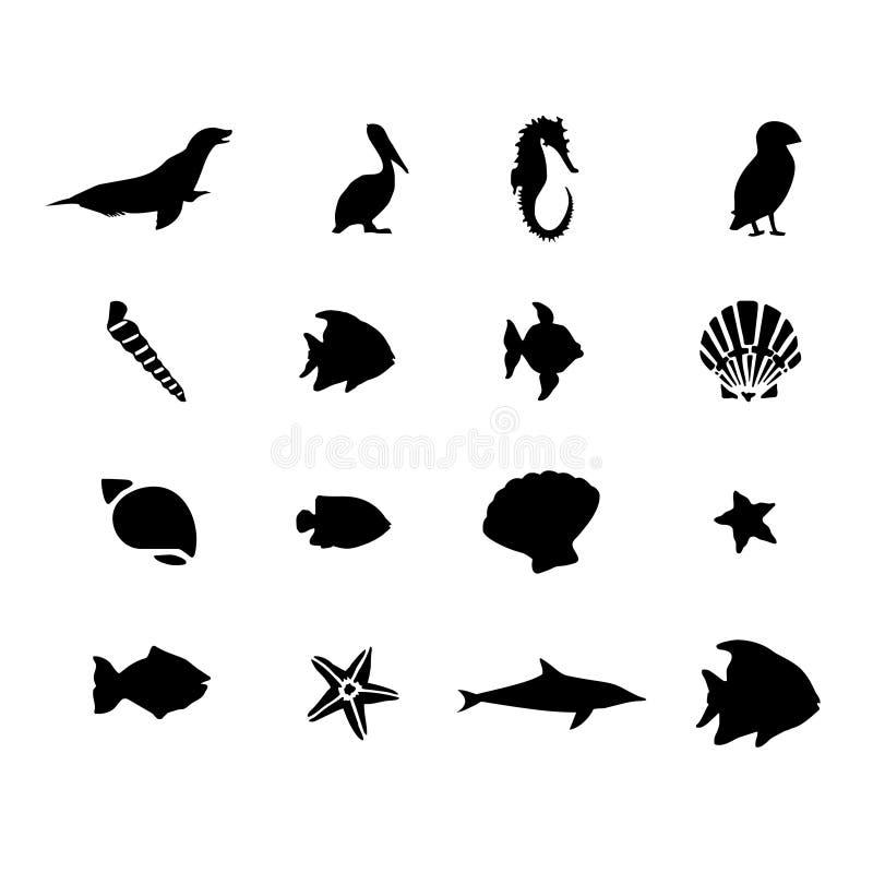 Vetor marinho dos animais da vida de mar ilustração royalty free