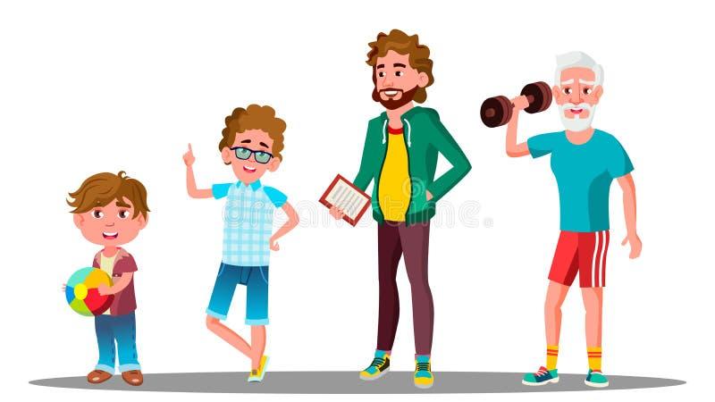 Vetor masculino da geração caucasiano Avô, pai, filho, vetor do neto Ilustração isolada ilustração stock