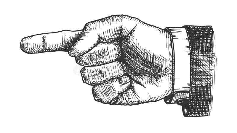 Vetor masculino do gesto da exibição do dedo do ponteiro da mão ilustração stock