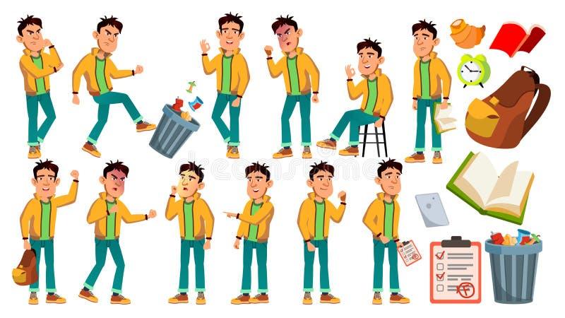 Vetor mau asiático da estudante do menino Aluno alto Estudo das crianças Sorriso, atividade, bonita Para a Web, folheto, cartaz ilustração do vetor