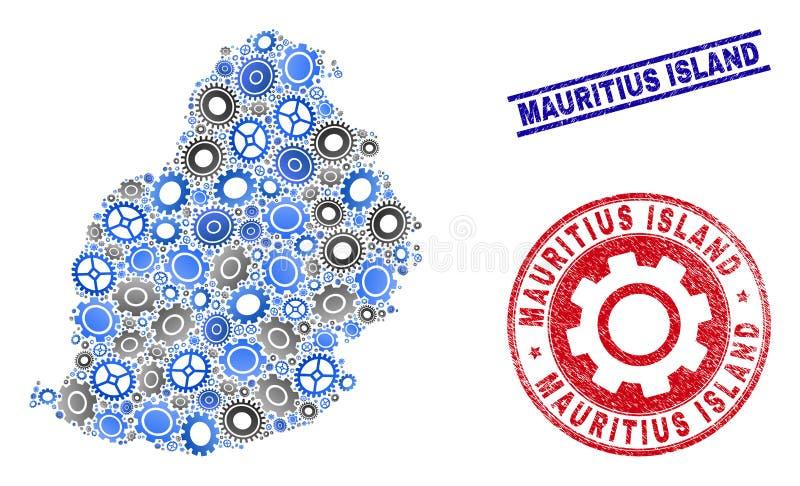Vetor Mauritius Island Map da colagem dos mecânicos e selos do Grunge ilustração royalty free