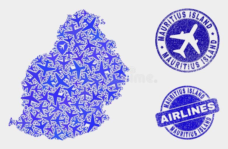 Vetor Mauritius Island Map da colagem da linha aérea e selos do Grunge ilustração do vetor