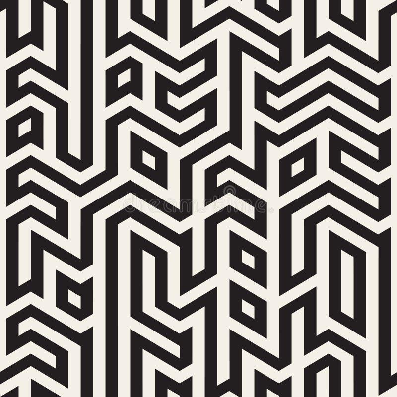 Vetor Maze Lines Geometric Irregular Pattern preto e branco sem emenda ilustração stock