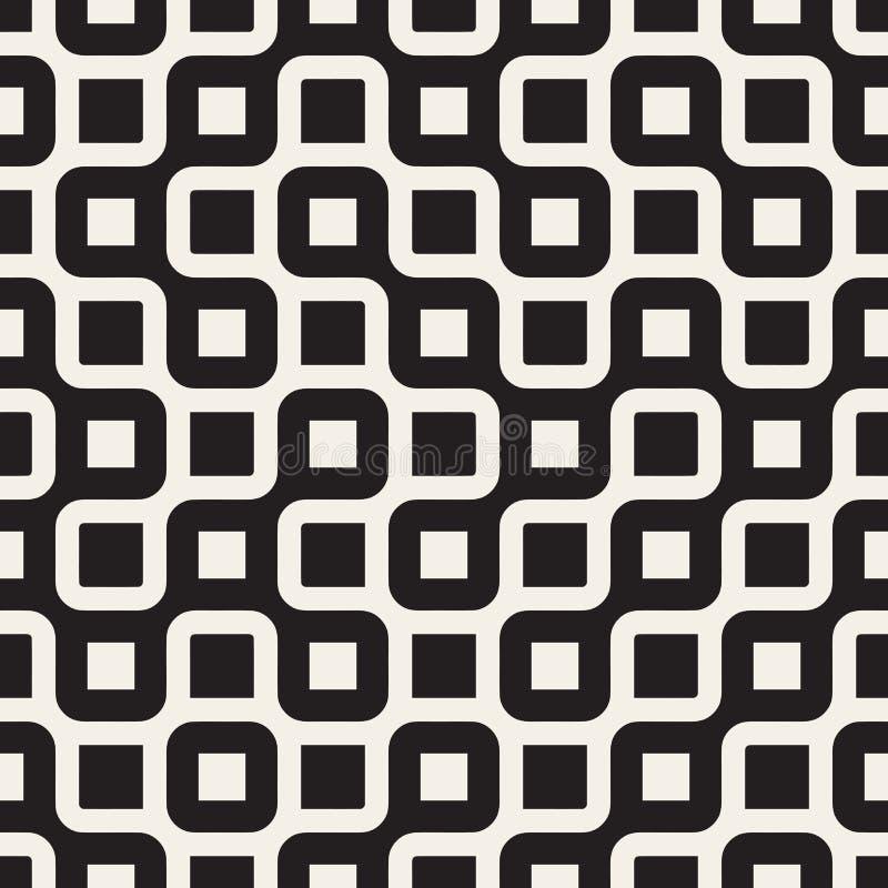 Vetor Maze Lines Pattern irregular arredondado preto e branco sem emenda ilustração royalty free