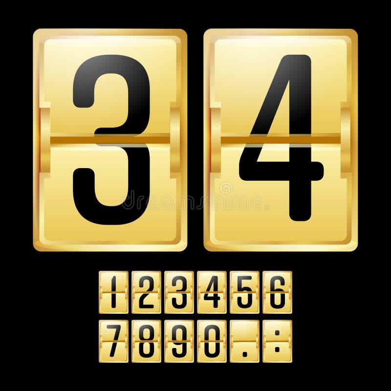 Vetor mecânico do placar Calendário amarelo do ouro com números pretos Painel análogo do pulso de disparo Temporizador da contage ilustração stock