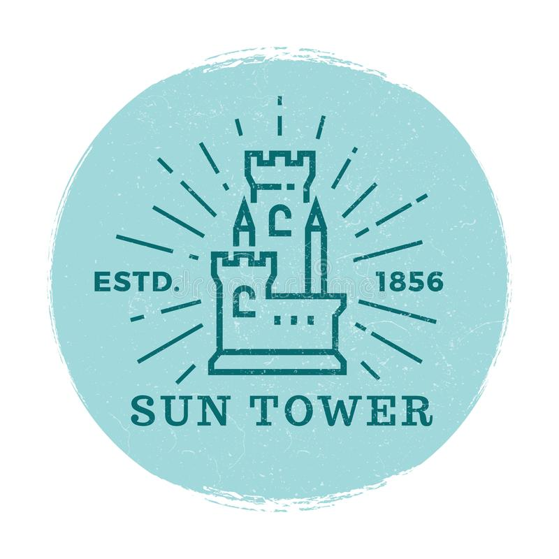 Vetor medieval da etiqueta da torre ilustração royalty free