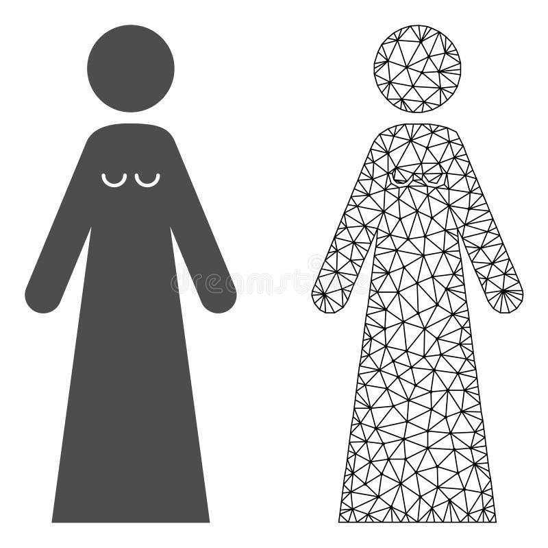 Vetor Mesh Bride poligonal e ícone liso ilustração stock