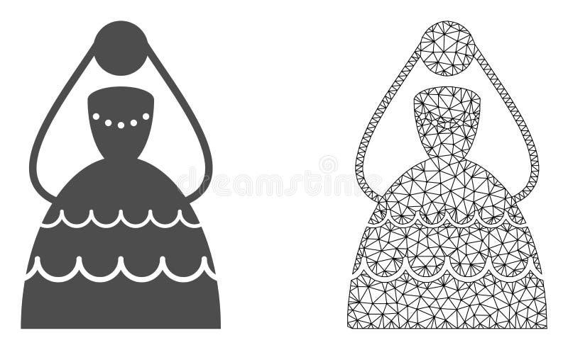 Vetor Mesh Bride poligonal e ícone liso ilustração royalty free