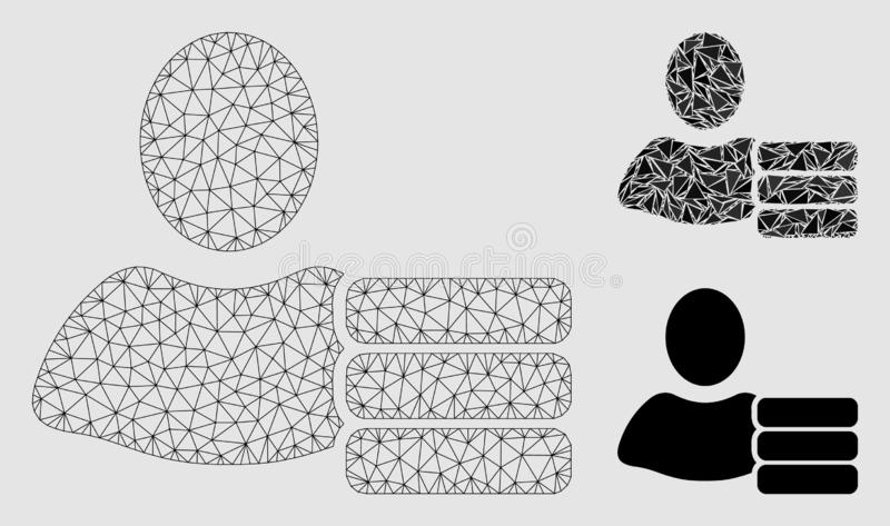Vetor Mesh Carcass Model do banco de dados de usuário e ícone do mosaico do triângulo ilustração royalty free