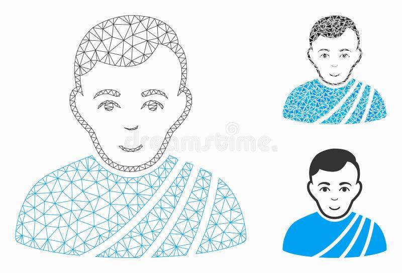 Vetor Mesh Carcass Model do cidadão do Patrician e ícone do mosaico do triângulo ilustração royalty free
