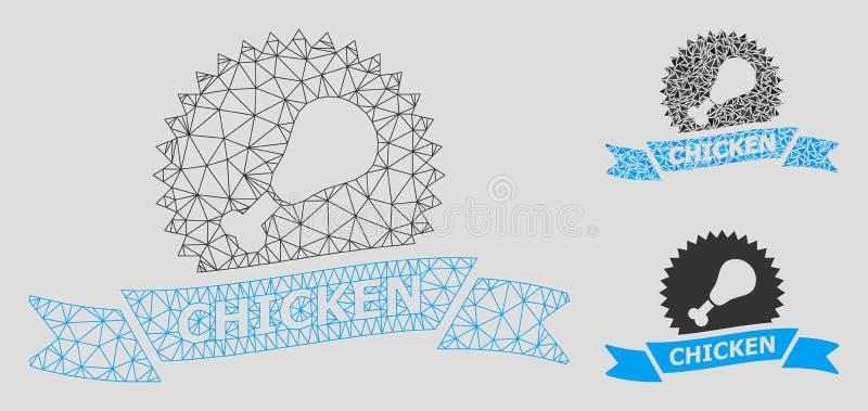 Vetor Mesh Carcass Model do fast food e ícone do mosaico do triângulo ilustração stock