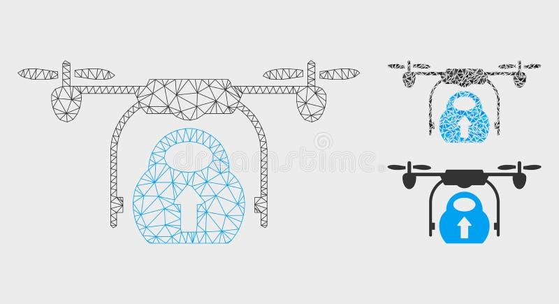 Vetor Mesh Carcass Model do zangão da carga da carga e ícone do mosaico do triângulo ilustração stock