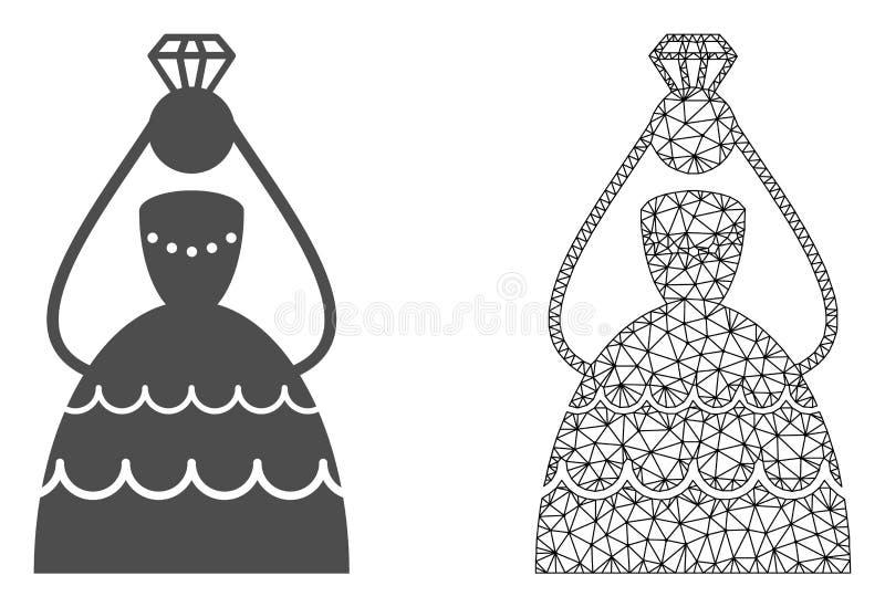 Vetor Mesh Crowned Bride poligonal e ícone liso ilustração do vetor