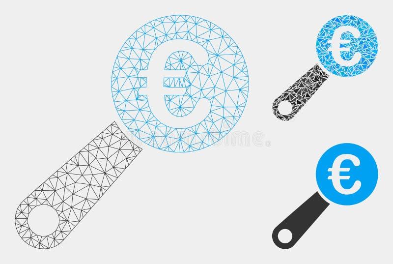 Vetor Mesh Network Model da auditoria do Euro e ícone do mosaico do triângulo ilustração do vetor