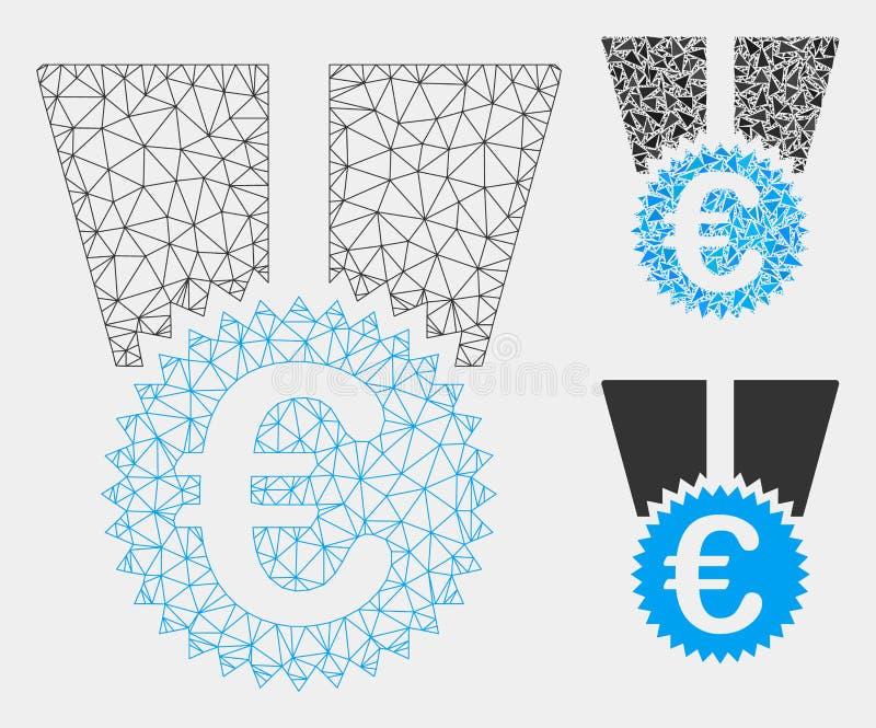 Vetor Mesh Network Model da medalha do Euro e ícone do mosaico do triângulo ilustração royalty free