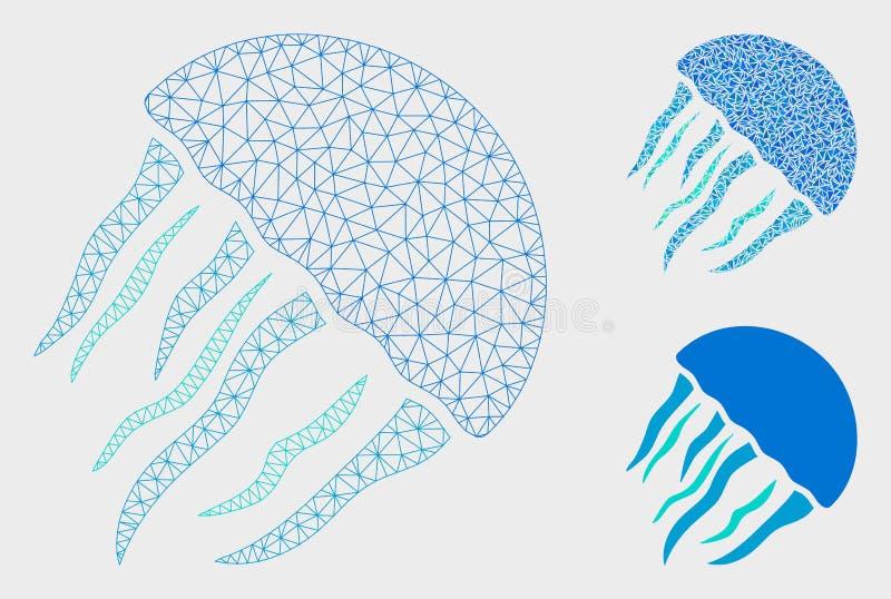 Vetor Mesh Network Model das medusa e ícone do mosaico do triângulo ilustração stock