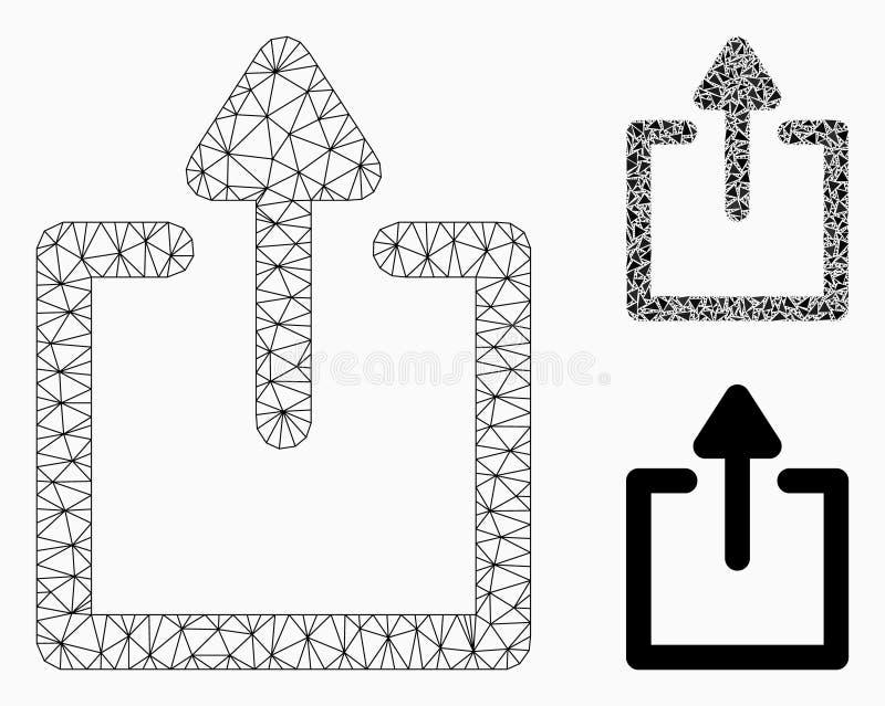Vetor Mesh Network Model das transferências de arquivo pela rede e ícone do mosaico do triângulo ilustração stock