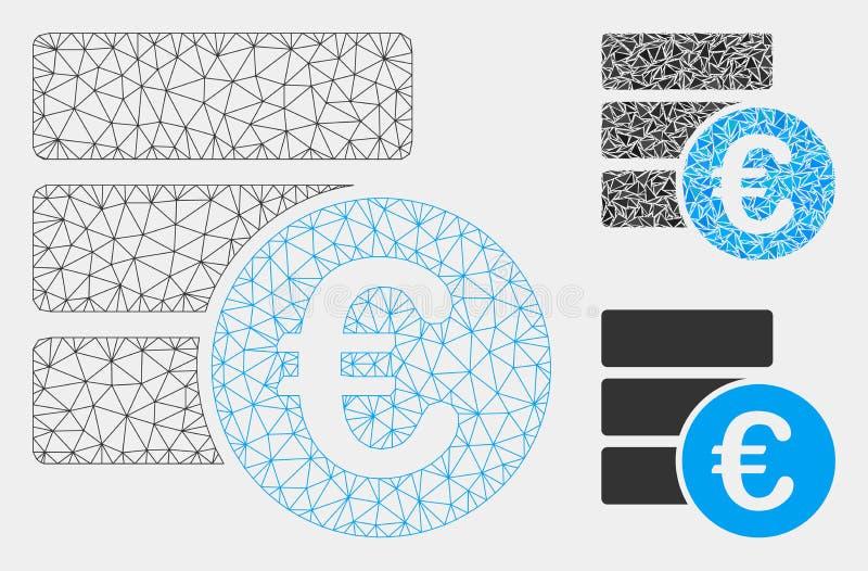 Vetor Mesh Network Model do banco de dados do Euro e ícone do mosaico do triângulo ilustração stock